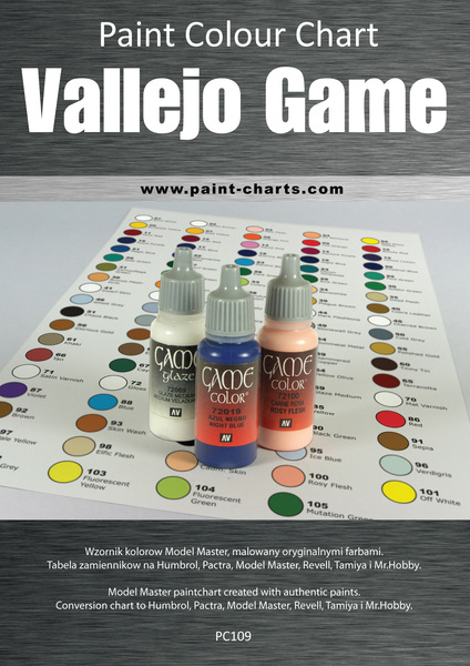 Paint Colour Chart - Vallejo Game Color 12mm PJB -PC109