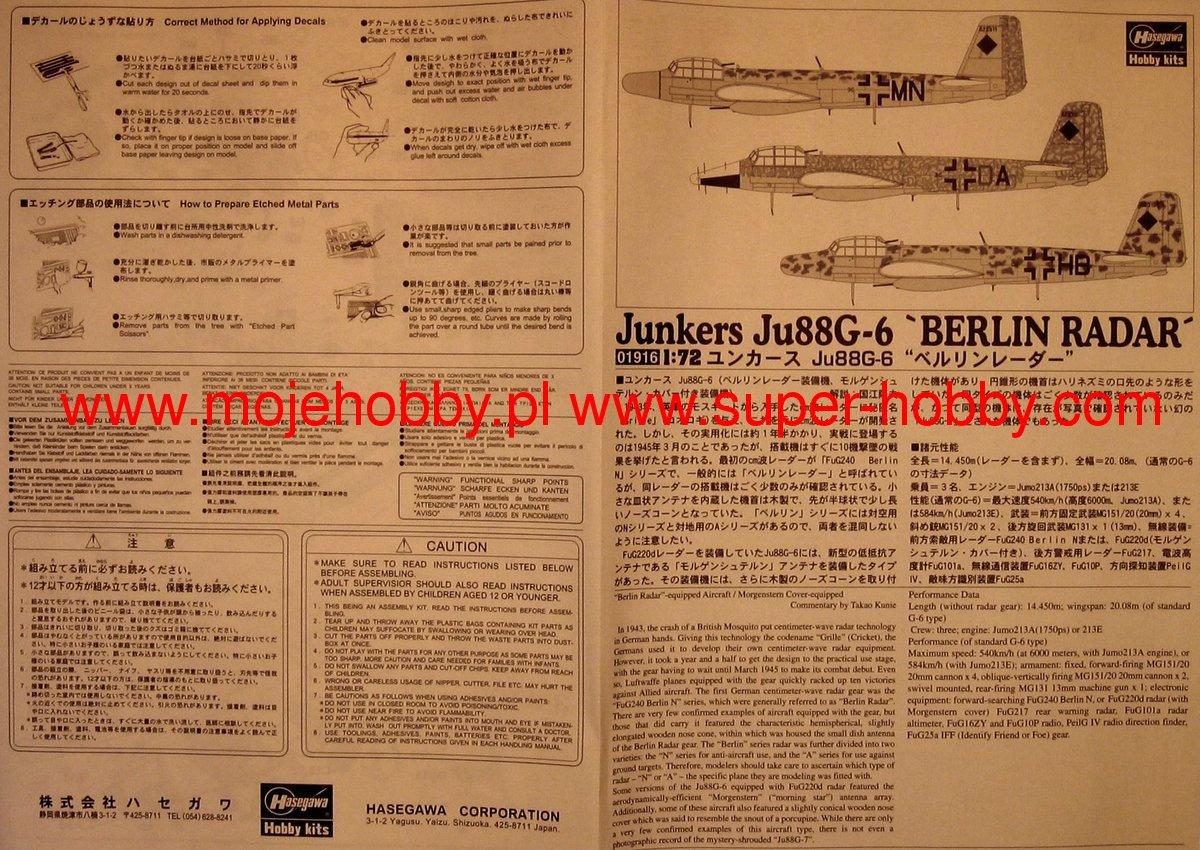 Junkers Berlin junkers ju88g 6 berlin radar hasegawa 01916