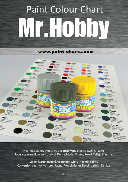 Paint colour chart gunze mr hobby 12mm pjb pc112 for Homedepot colorsmartbybehr com paintstore