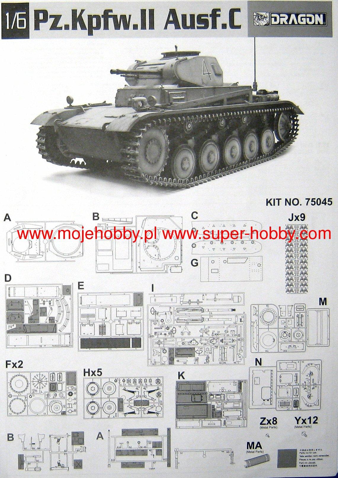 Pz C Puertas Exterior: Pz.Kpfw.II Ausf. C Dragon 75045