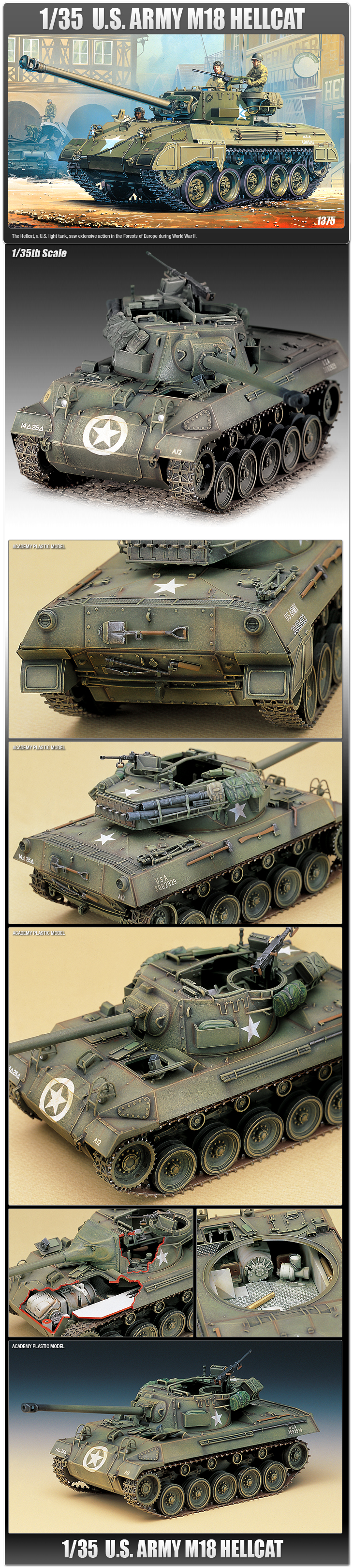 ARMY M18 HELLCAT Light Tank Plastic Model Kit 13255 Academy 1//35 U.S