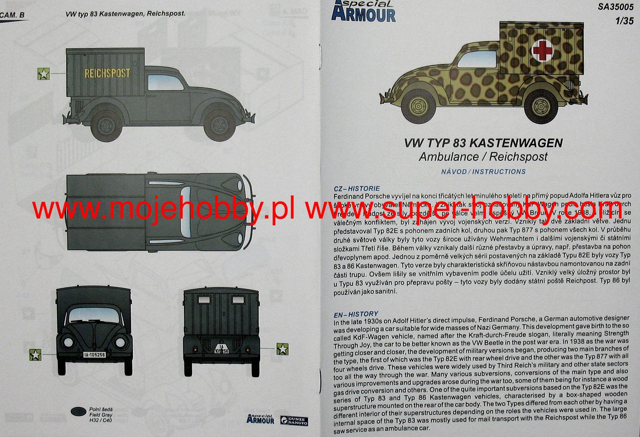 german VW Vokswagen Typ 83 Kastenwagen Reichspost 1:35 Special Armour SA35005