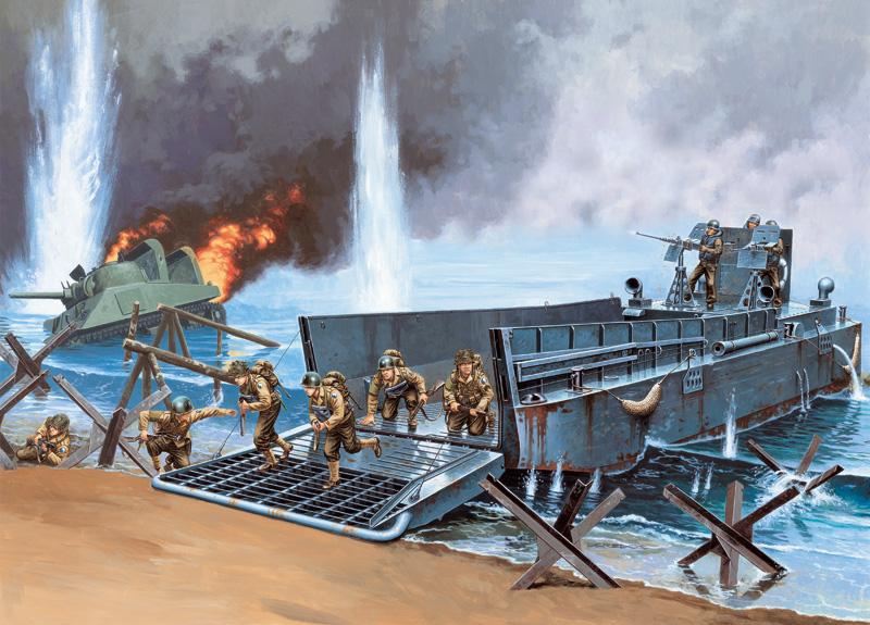 Italeri 1//35 6436 WWII US LCM 3 50ft Landing Craft w//3 Crews /& 6 Soldiers