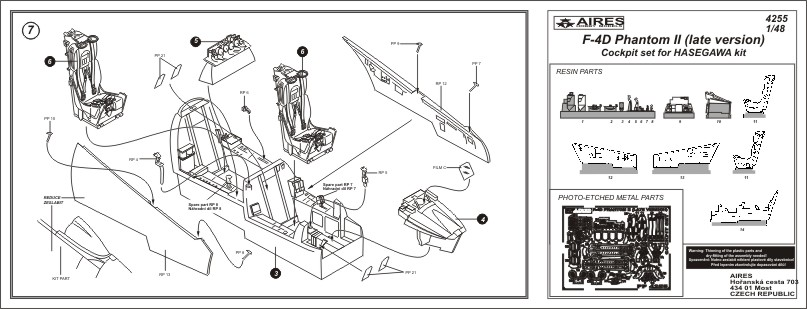 Aires 4255 1//48 F-4D Phantom II Late Cockpit Set For Hasegawa