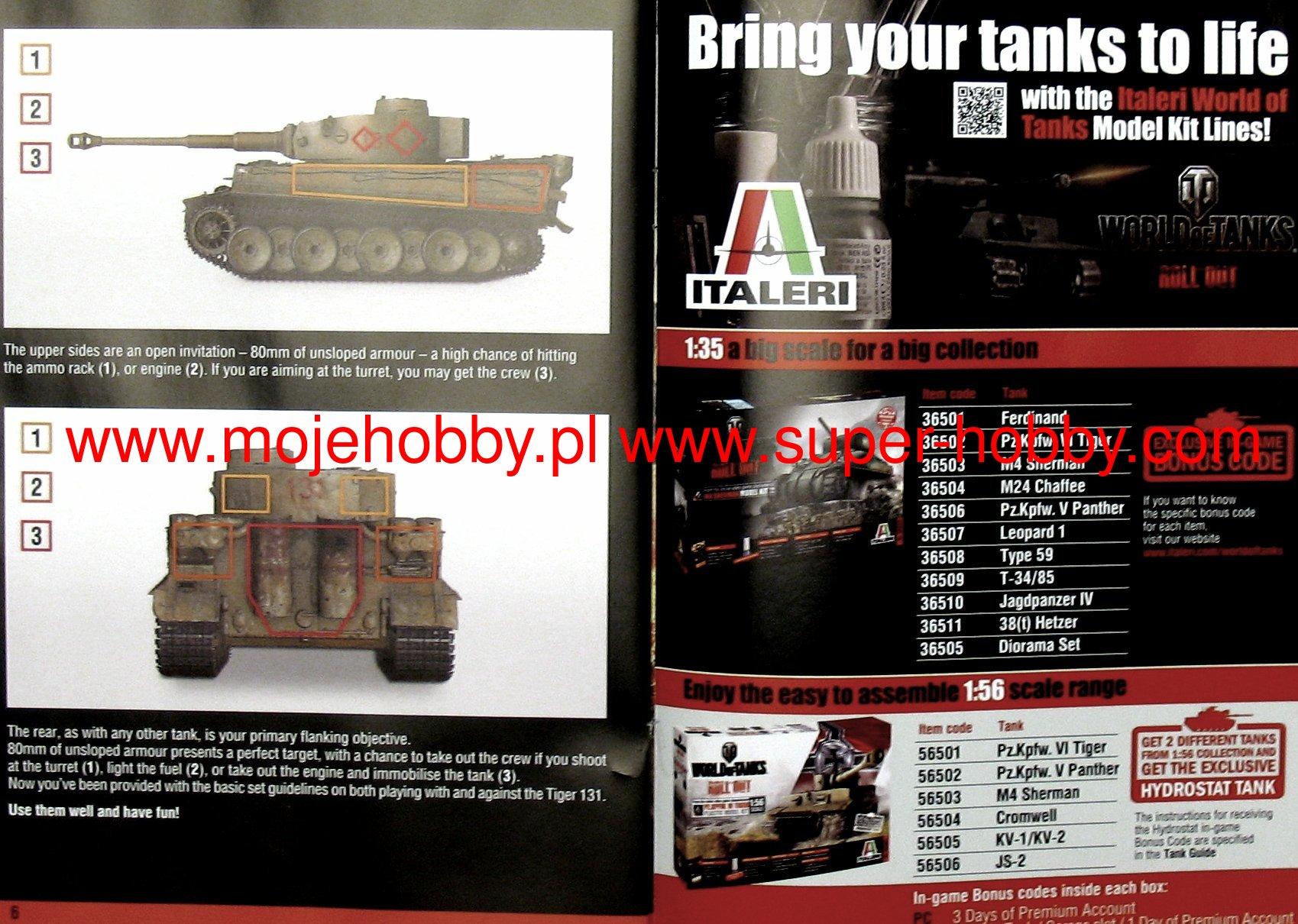 World Of Tanks TIGER 131 EU WoT Limited edition Italeri 36512