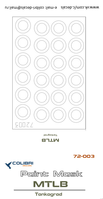 1:72 Colibri Decals #M72-003 Paint Masks  MTLB Tankograd