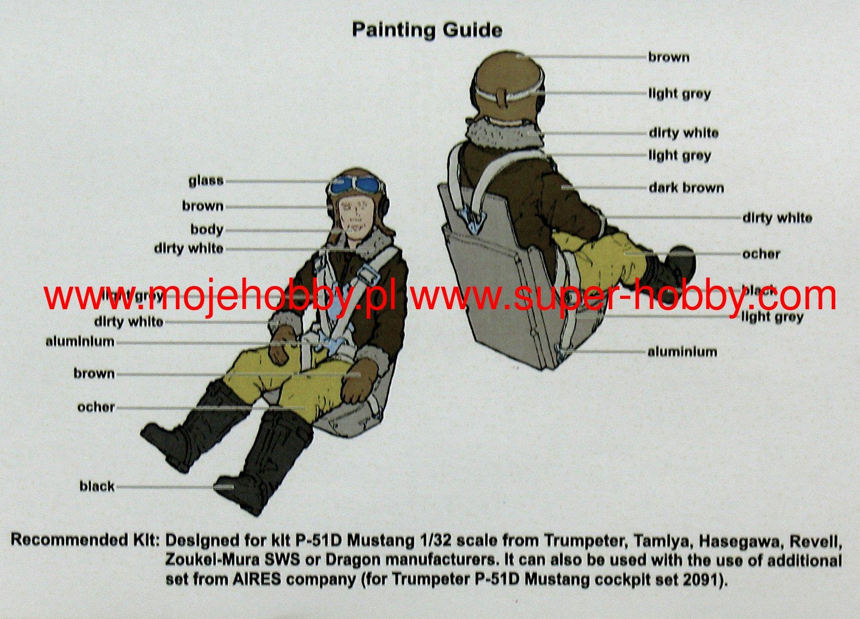 AEROBONUS 1//32 P51D MUSTANG WWII PILOT//EJECTION SEAT TSM TAM HSG RVL 320132