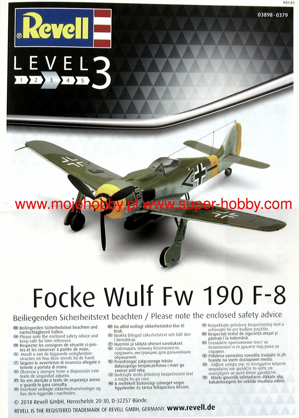 Revell Focke Wulf Fw 190 F-8 Level 3 Scale 1:72 Plane Model Kit 03898 NEW