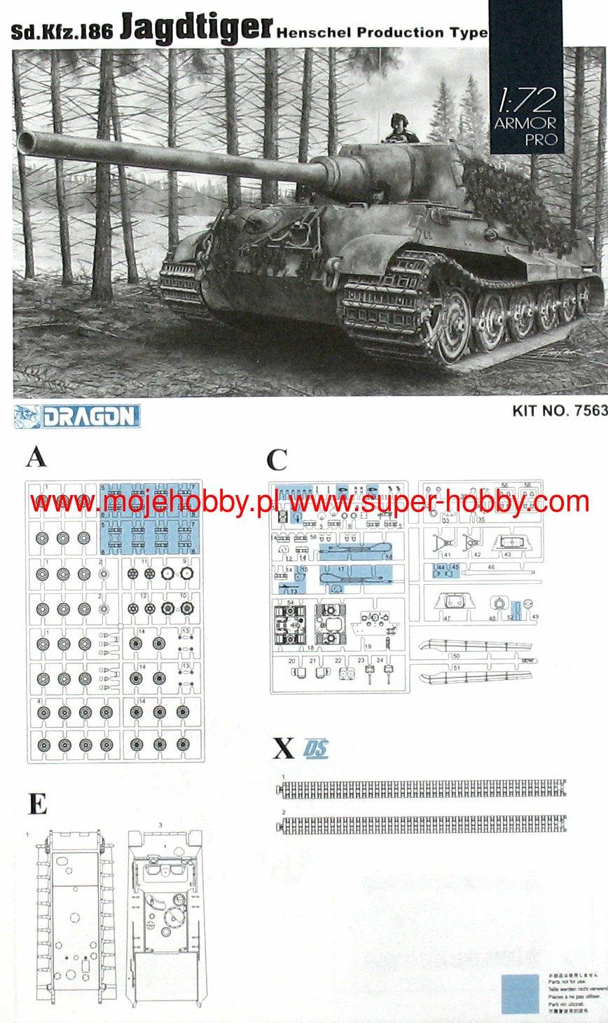 Dragon 7563-1//72 WWII Dt Sdkfz 186 Jagdtiger Henschel - Neu