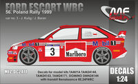 Ford Escort WRC Decals for model kits TAMIYA TAM24144, TAM24153, TAM24171, DOMINO DMN24144 with transkit Renaissance RE.24FWRC