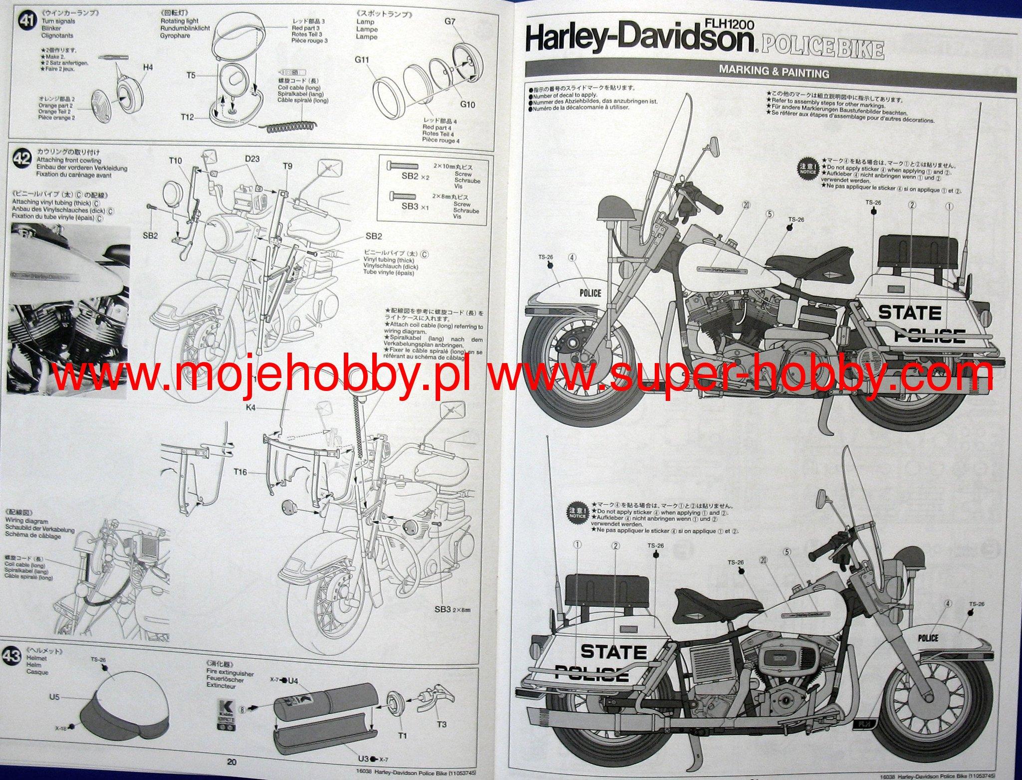Harley Davidson Flh1200 Police Bike Tamiya 16038 Lang Wiring Diagram 2 Rev16038 12