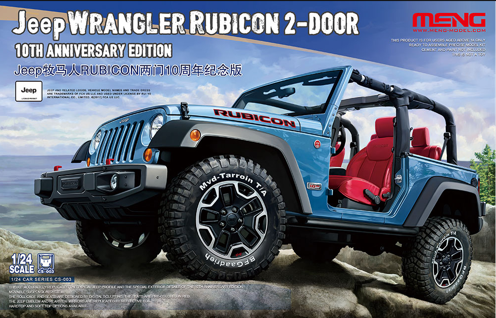 jeep wrangler rubicon 2 door 10th anniversary edition meng model cs003 rh super hobby com