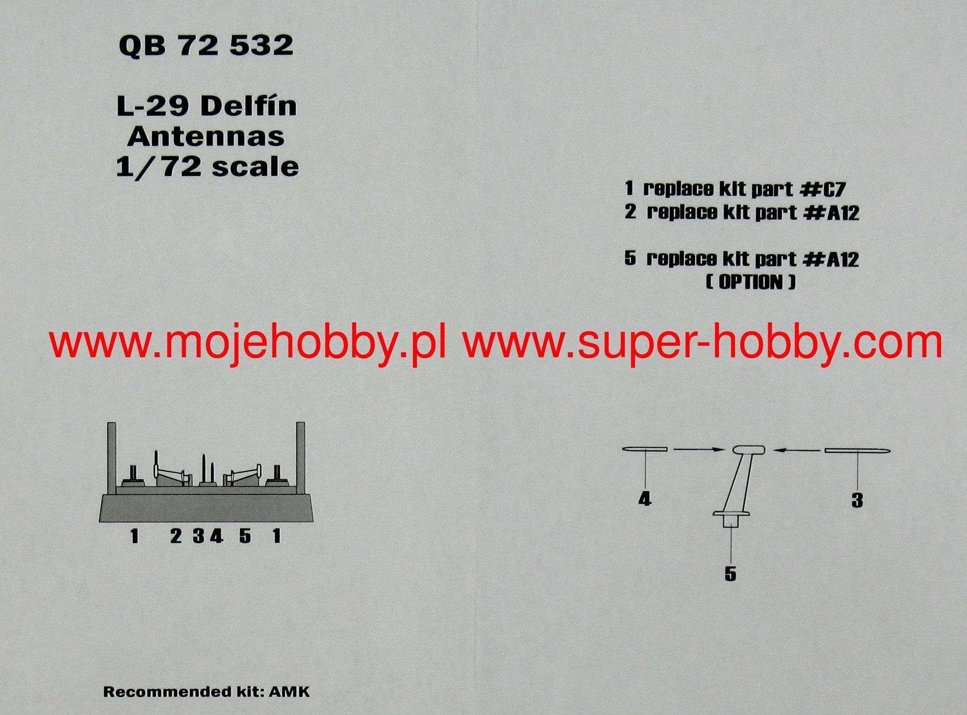 QuickBoost 1//72 Aero L-29 Delfin Antennas for AMK kit