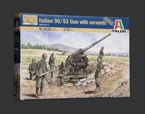 WWII Italian 90//53 Gun With Servants Figure Plastic Kit 1:72 Model ITALERI
