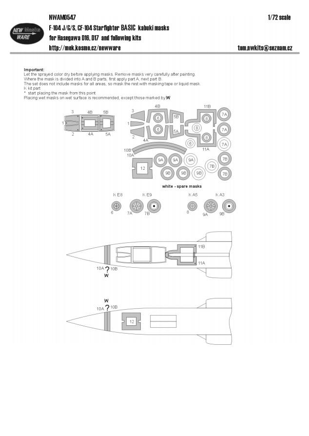 G//S New Ware Maschera NWAM0548 1//72 F-104 J Ha CF-104 Starfighter Advanced