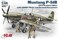 North American Mustang P-51B US WW2 Fighter with US AF Pilots and Ground Personnel model kit - Image 1