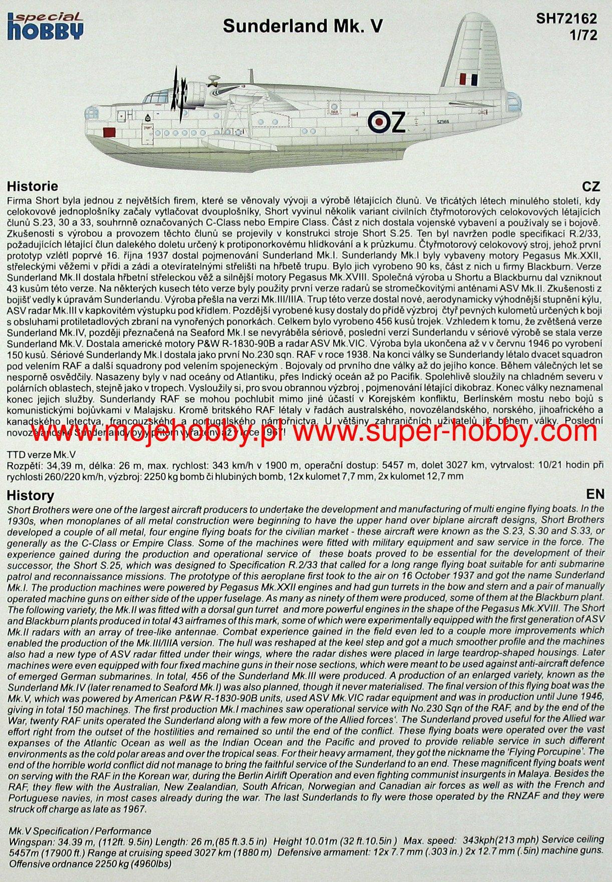 Special Hobby 100-SH72162 Short Sunderland Mk.V in 1:72