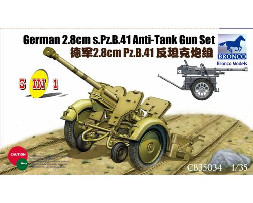 German 50 Mm Anti Tank Gun: German Anti-tank Gun S.Pz.B. 41 28mm (3in1 Set) Bronco CB35034