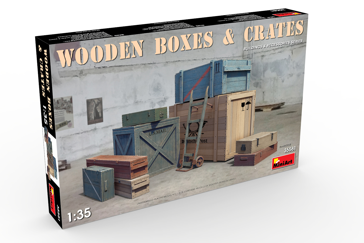 Miniart 35581-1:35 Wooden Boxes /& Crates