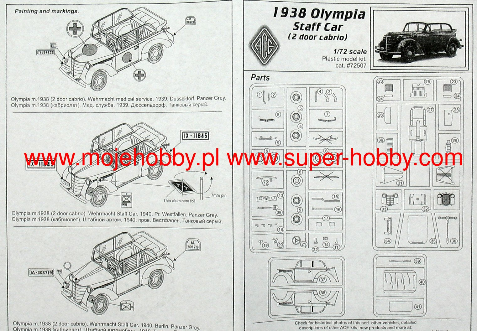 Opel Olympia Stabswagen 1938 Staff Car Cabriolet Ace Wiring Diagram 2 Ace72507 1