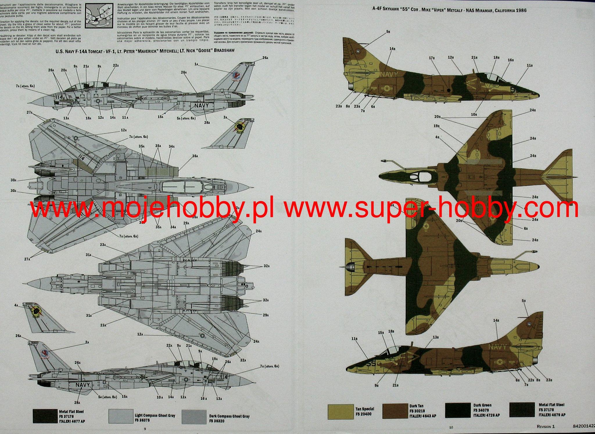 Us Navy Fighter Weapons School Top Gun F-14A Vs A4M Kit ITALERI 1:72 IT1422