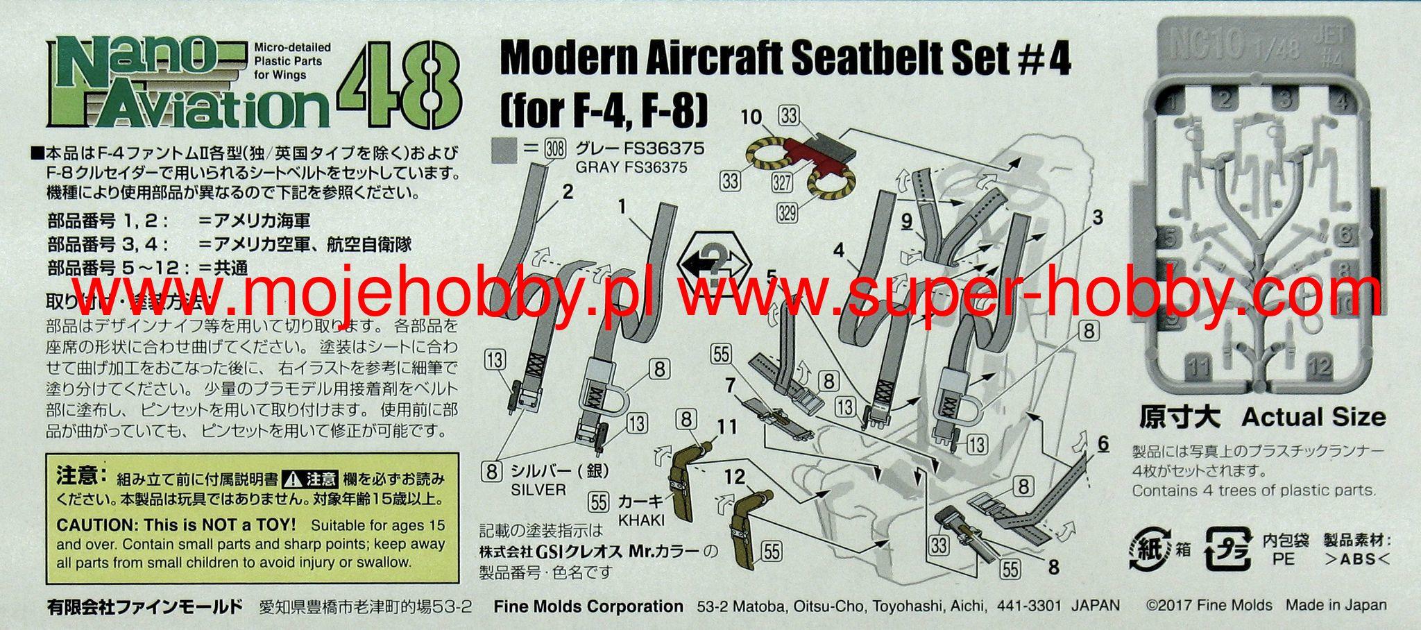 F-4 F-8 etc. Fine Molds NC10-1//48 Modern Aircraft Seatbelt Set #4 Neu