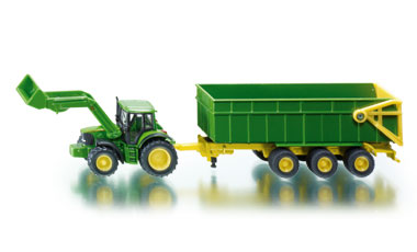 John Deere with Front Loader and Trailer - Image 1