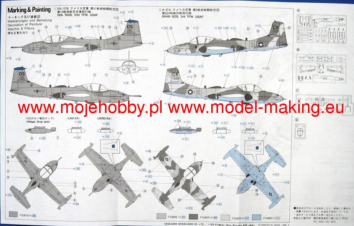 Hasegawa A12 A-37A//B Dragonfly 1//72 scale kit