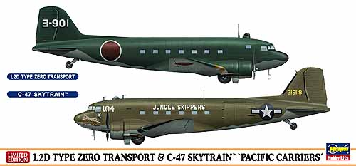 """L2D TYPE ZERO TRANSPORT & C-47 SKYTRAIN """"PACIFIC CARRIERS"""" (Two kits in the box) Hasegawa 10687"""