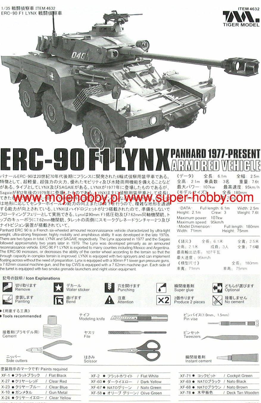 Tiger Model 1//35 4632 ERC-90F1 Lynx