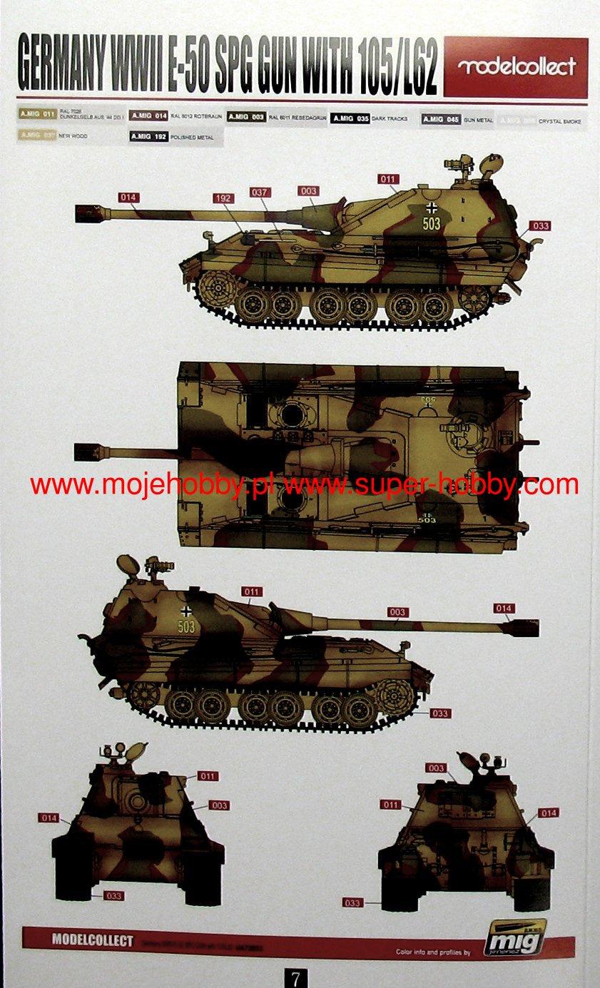 WWII german PanzerTank E-50 SPG GUN with 105//L62  1:72 Modelcollect UA72053