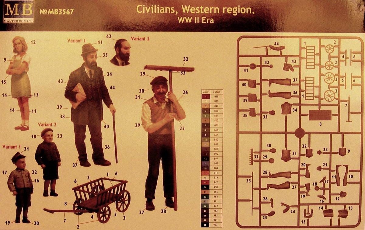 Master Box 1//35 Civilians Western region WWII era # 3567