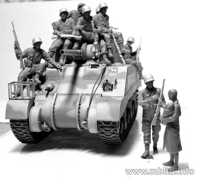MB35164 101th light company.US paratroopers and British tankmen Master Box Ltd