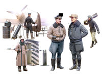 WWII German Luftwaffe Pilots and Ground Personnel in Winter Uniform