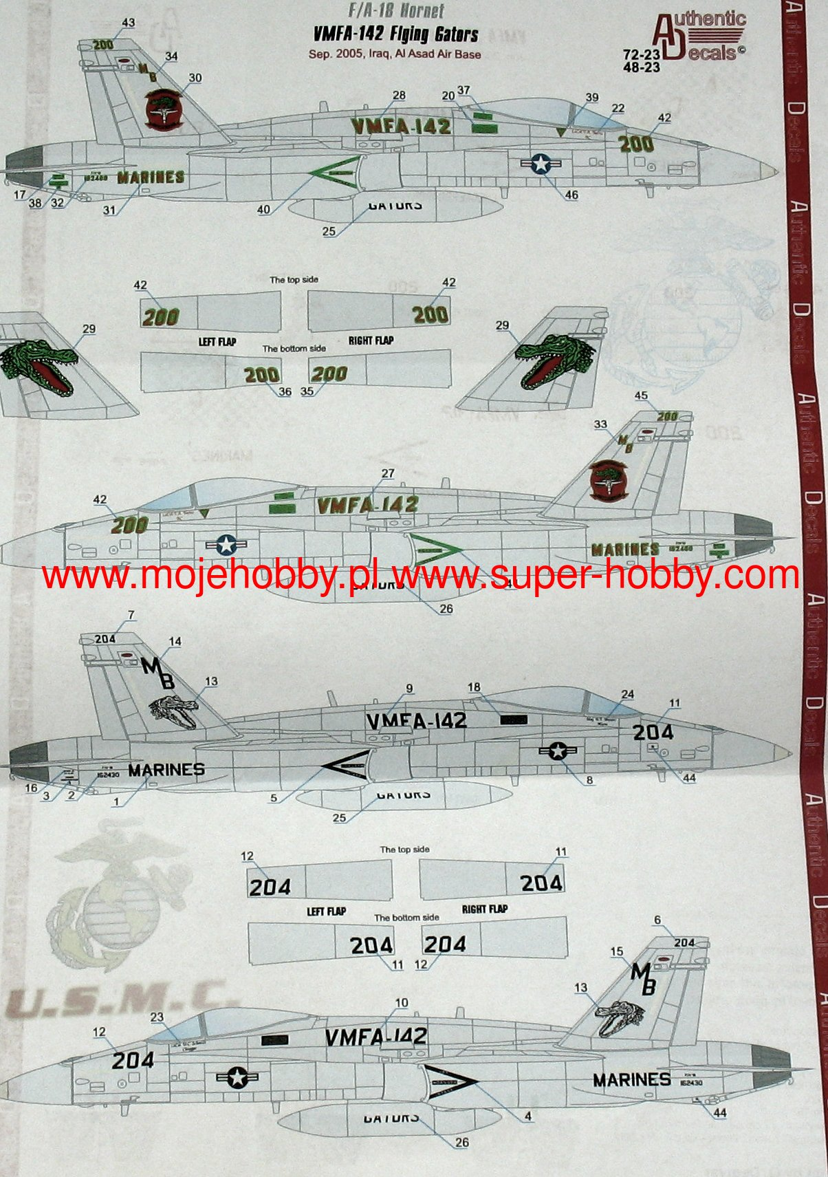 F 18 Hornet Vmfa 142 312 Modern Us Marine Authentic Decals F18 Jet Engine Diagram 2 Atd 72 23