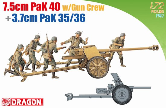 German 50 Mm Anti Tank Gun: German Anti-tank Guns 7.5cm PaK40 With Gun Crew And 3.7cm