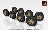 BTR-80 APC wheels w/ weighted tires KI-80N - Image 1