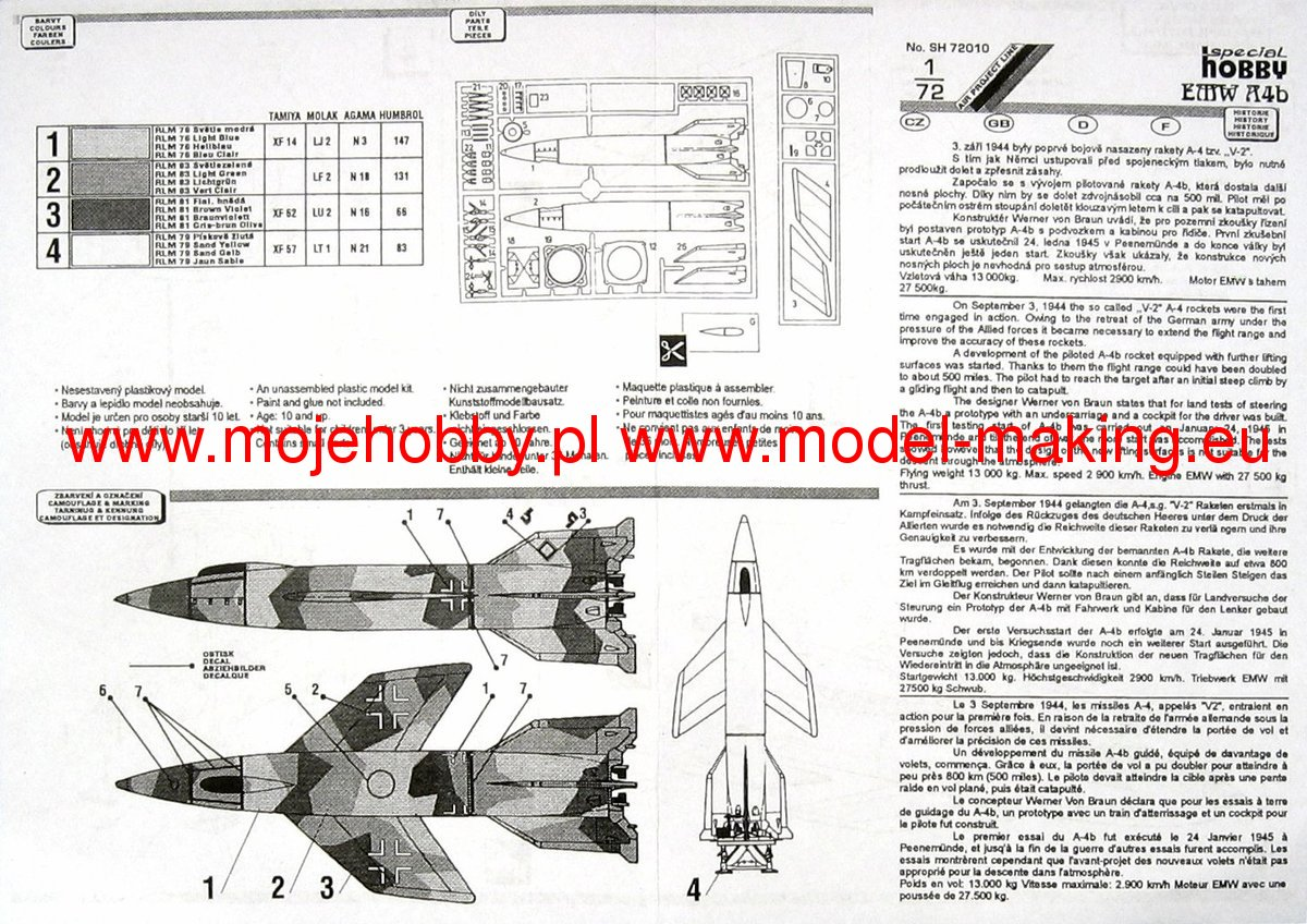 in 1:72 SPECIAL HOBBY 72010 Rocket A4b Piloted Version
