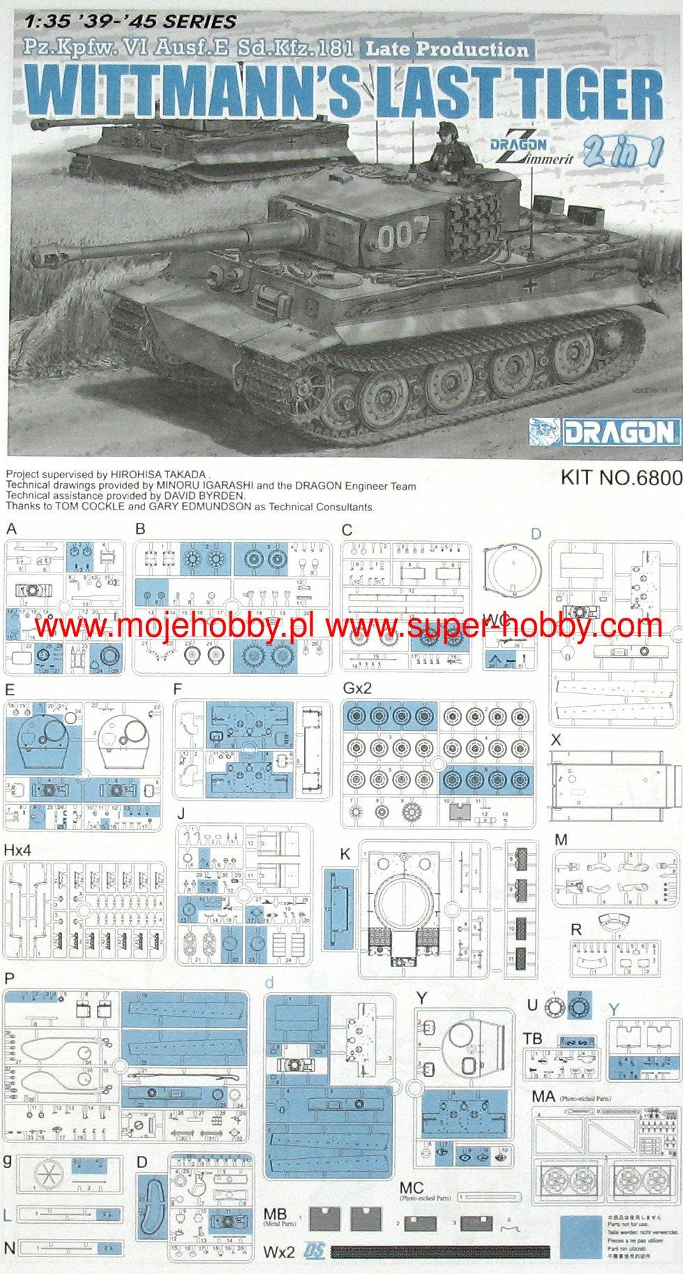 Pz.Kpfw VI Ausf.E Sd.Kfz.181 Wittmann/'s Last Tiger 1:35 Model Kit Dragon 6800