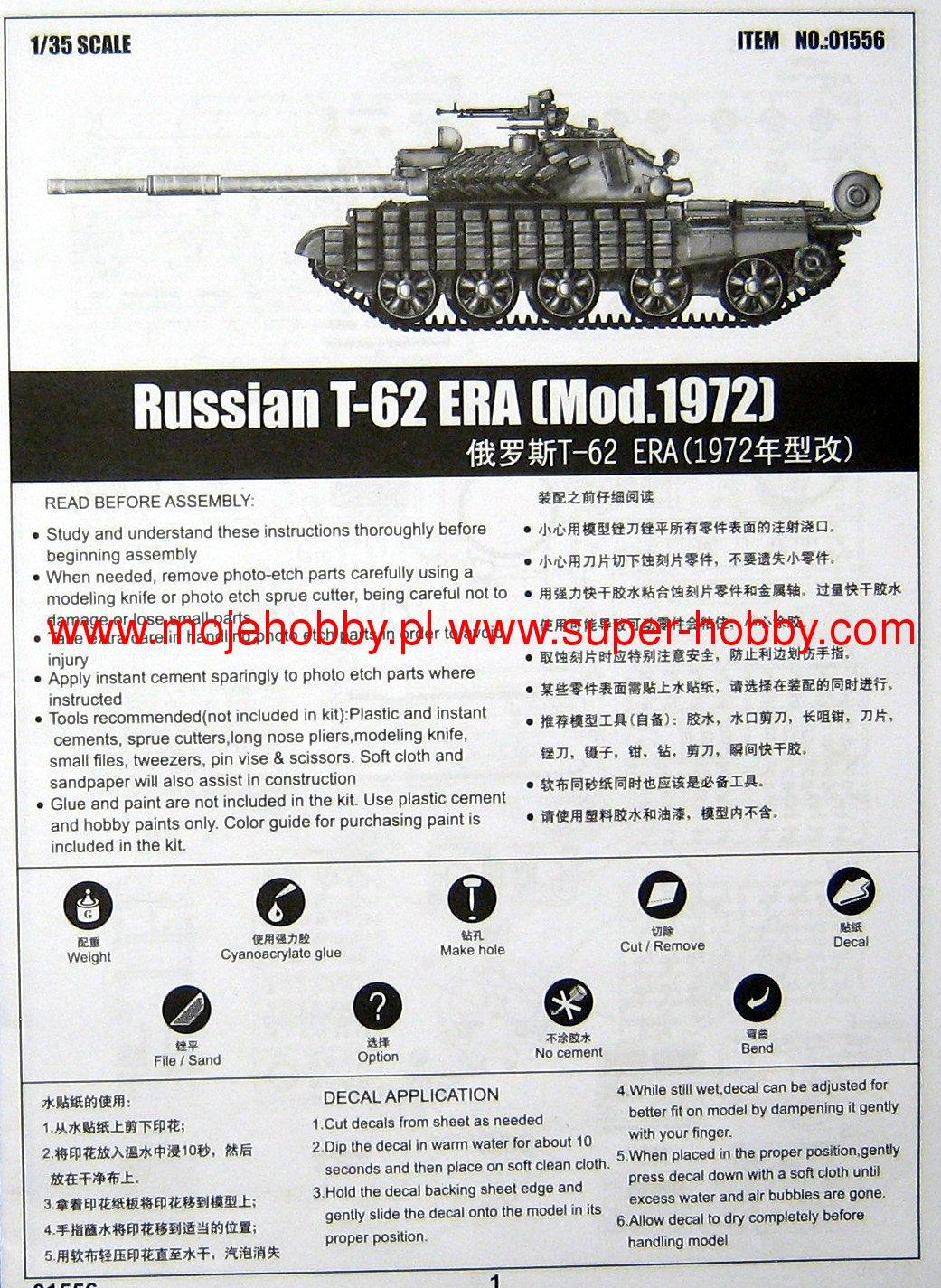 Trumpeter 01556/mod/èle Kit Russian T 62/Era Mod. 1972