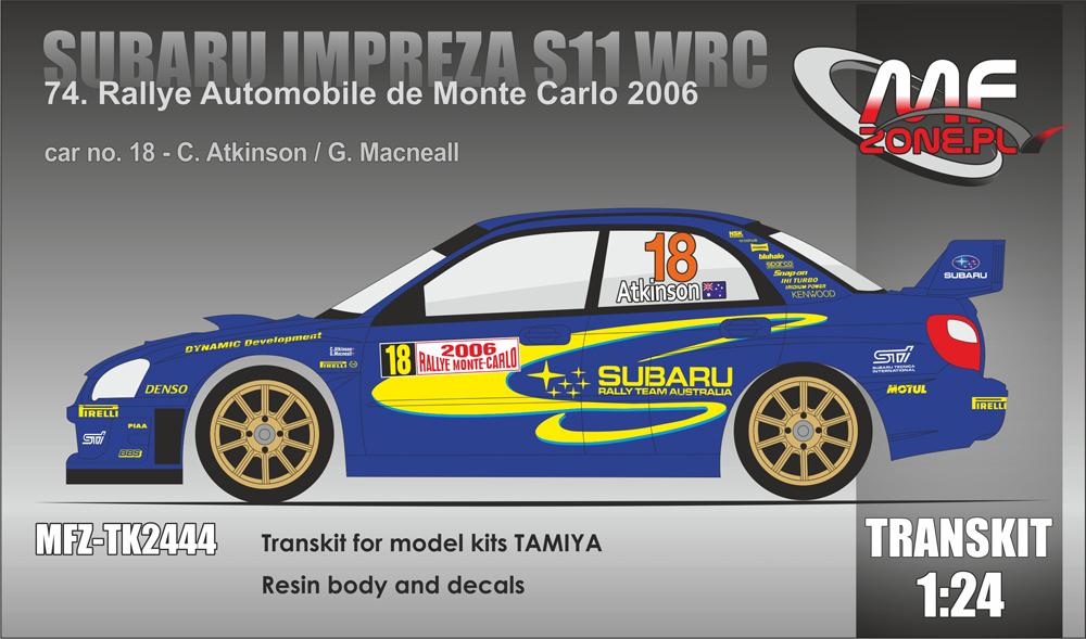 Subaru Impreza S11 WRC Atkinson - 74  Rallye Monte Carlo 2006 (Resin body,  decals)