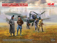 WWII Luftwaffe Airfield Messerschmitt Bf 109F-4, Hs 126 B-1, German Luftwaffe Pilots and Ground Personnel (7 figures) - Image 1