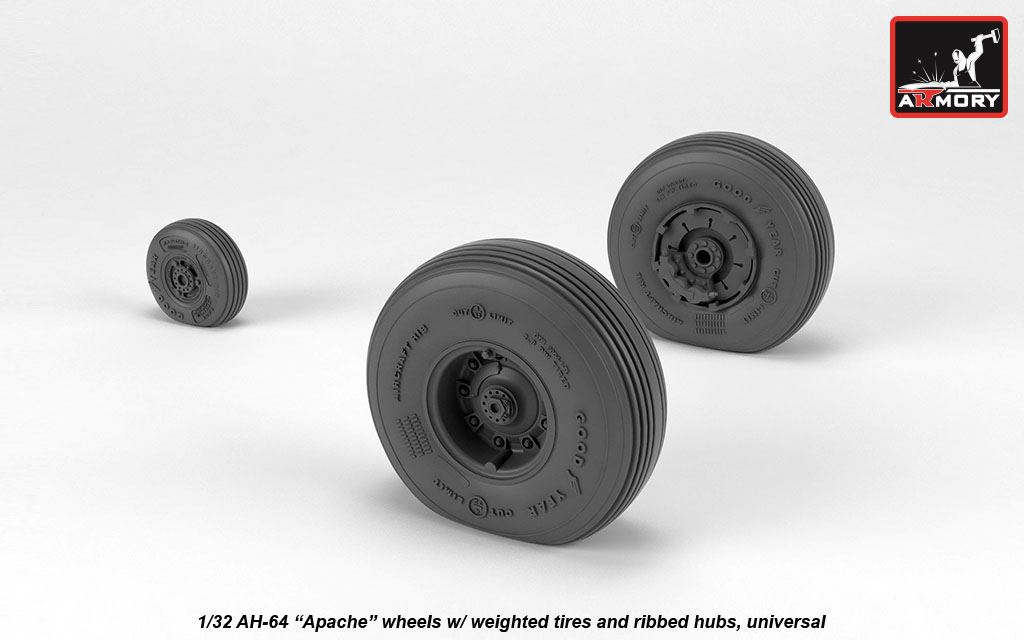 AH-64 Apache wheels w/ weighted tires, spoked hubs - Image 1