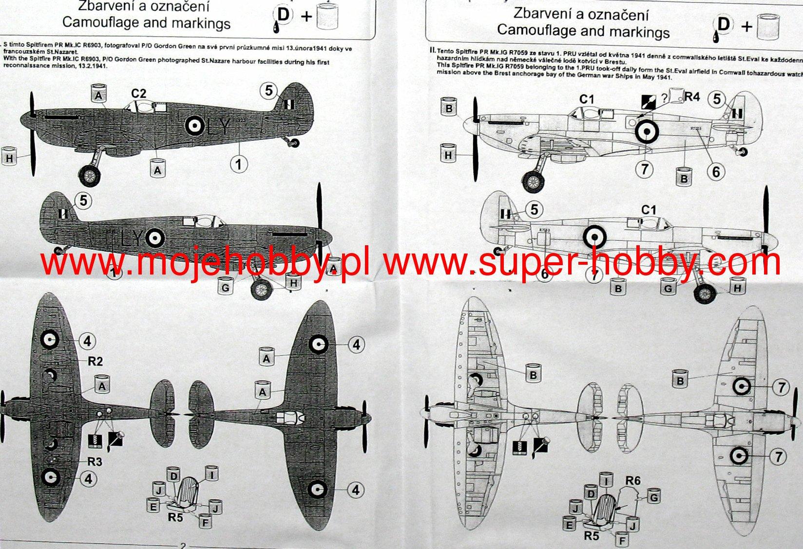Pavla 1//48 Supermarine Spitfire PR Mk.IA Mk.VII Decal Sheet /& Canopies # Mk.IV