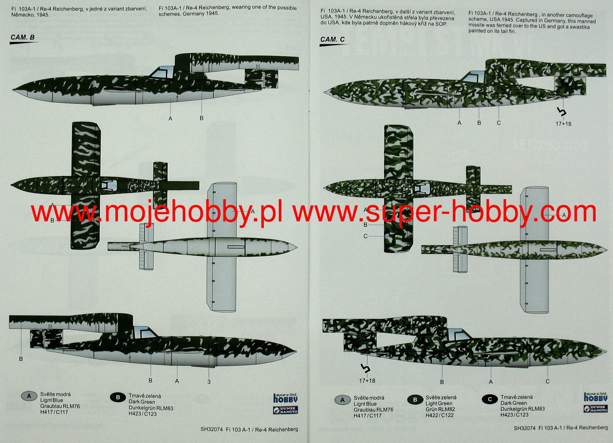 SPECIAL HOBBY 32074 Fieseler Fi 103A-1//Re 4 Reichenberg in 1:32