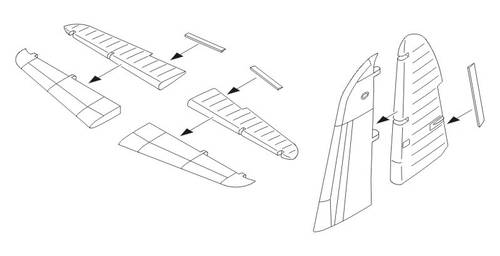 Martin B 26fg Control Surfaces For Hasegawa Cmk 7179