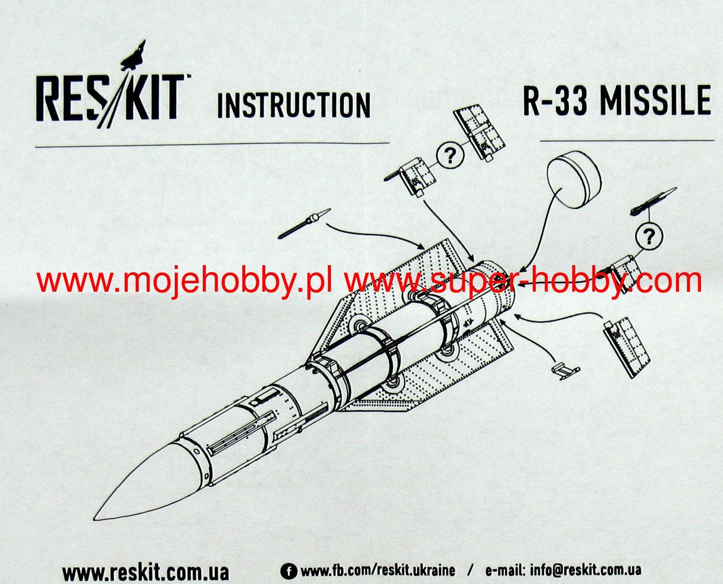 Resin Upgrade set 4 pcs 1//72 ResKit RS72-0143 R-33 missile