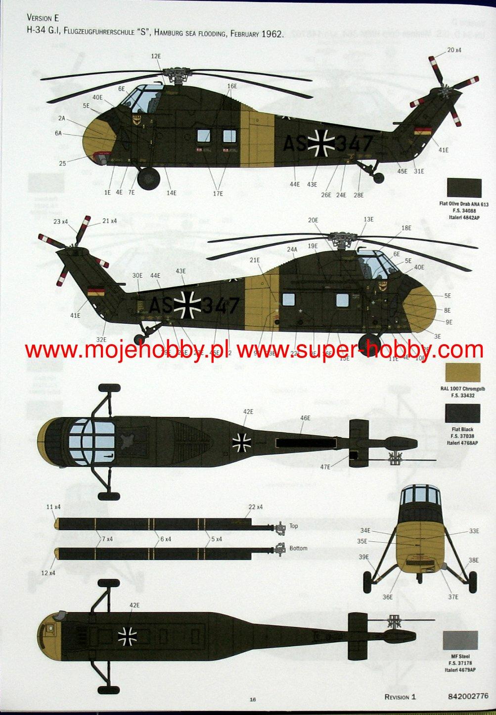 1//48 Italeri H 34A Pirate UH 34D US Marines Markings 4//5 Versions PE Parts #2776