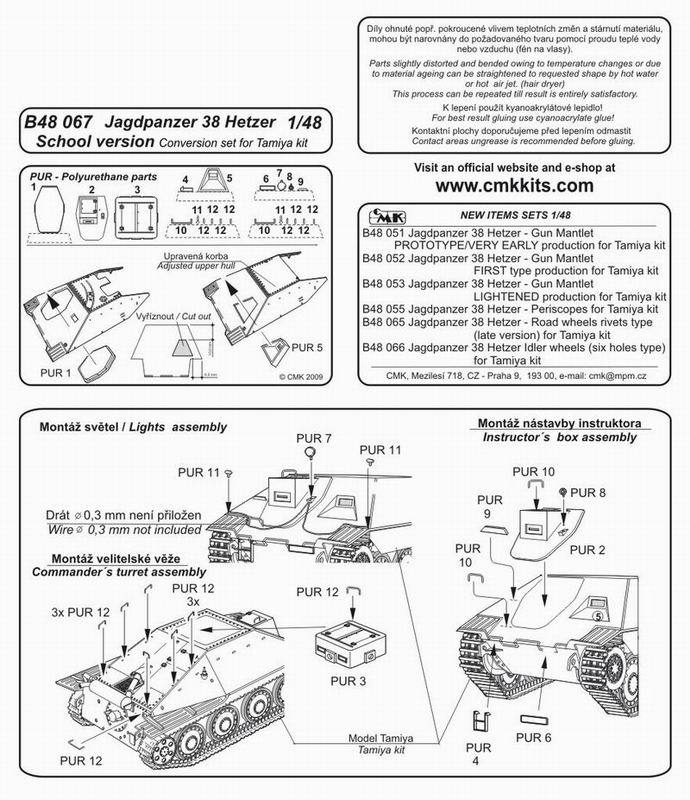 Jagdpanzer 38 Hetzer School Version Conversion 148 For Tamiya Kit