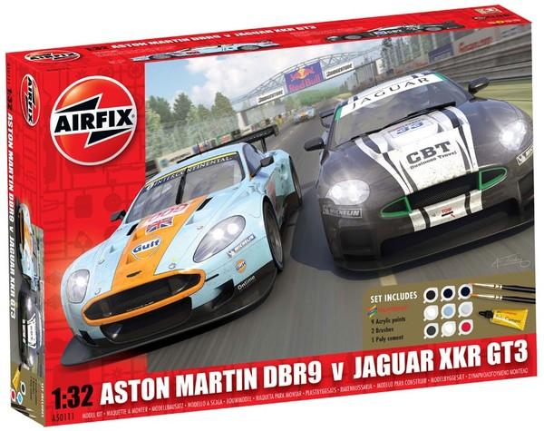 Jaguar Xkrgt3 Apex Racing And Aston Martin Dbr9 Gulf Gift Set Airfix